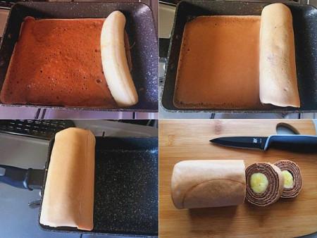 bánh cuộn, bánh chuối, bánh bông lan chuối, bánh cuộn