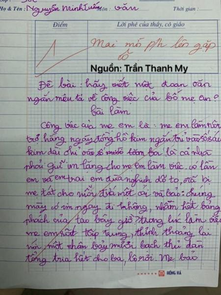 Cười ngất với bài văn mô tả công việc bố mẹ của học sinh lớp 3