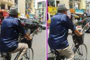 Hình ảnh một cụ đạp xe trên đường cùng bông hoa hồng trước giỏ xe ngay lập tức gây sốt trong cộng đồng.