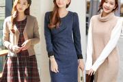 Váy công sở, thời trang mùa đông, xu hướng thời trang đông, áo cổ tròn, váy liền, váy xòe, thời trang công sở