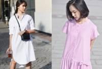 đẹp, thời trang, váy sơ mi, váy trễ vai, váy buộc nơ ngược , shirt dress