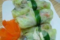 bắp cải cuốn tôm thịt, món ngon hấp dẫn, thực đơn, khéo tay