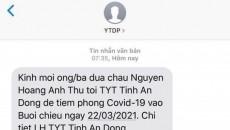 Phụ huynh bất ngờ nhận tin nhắn đưa con đi tiêm vắc xin phòng Covid-19