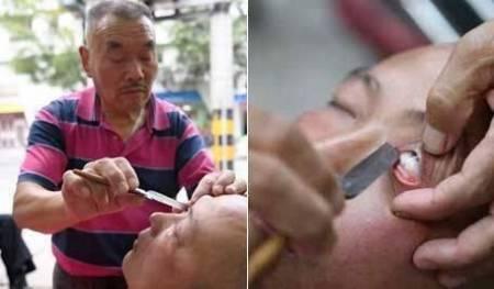 cắt tóc, cạo mắt bằng dao, cạo mắt, chuyện lạ thế giới, cua so tinh yeu