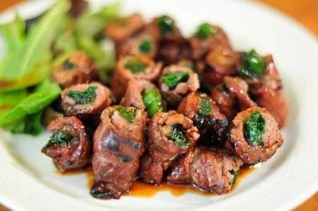 thịt quấn hành nướng, cách làm, món ngon
