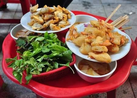 quán ngon, ăn vặt, Hoàn Kiếm, chân gà nướng, bánh khúc, bánh đúc nộm, cua so tinh yeu
