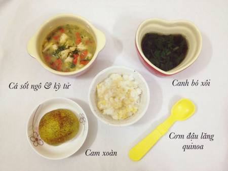 thực đơn dinh dưỡng cho bé, Thực đơn ăn dặm, thực đơn cho bé, thực đơn với cơm, thực đơn cho bé 1 tuổi, cua so tinh yeu