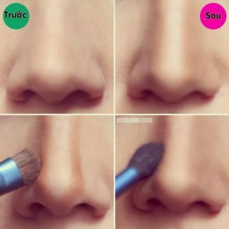mẹo trang điểm, trang điểm mũi, trang điểm giúp mũi cao