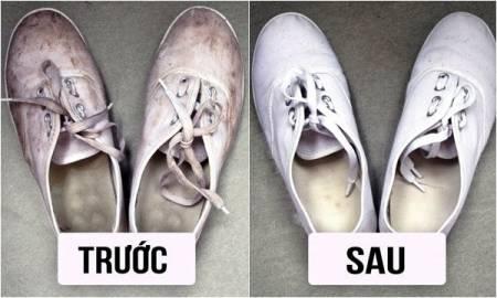 mẹo vặt, làm sạch giày, giày vải ố vàng, giày trắng ố vàng, 7 mẹo làm sạch, cua so tinh yeu