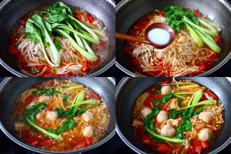 nấu canh nấm, ăn ngon miệng, bữa cơm gia đình, Nấm kim châm, cua so tinh yeu