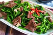 rau muống, thịt bò, món ngon, mẹo vặt