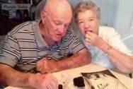 vợ chồng già, bánh cưới, kỷ niệm ngày cưới, florida, mỹ, chuyện lạ, hạnh phúc, hôn nhân