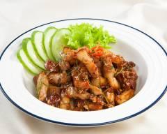 thịt heo, món chiên, lá chanh, thịt rang gừng lá chanh, cua so tinh yeu