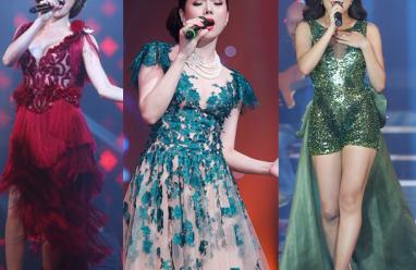 mỹ nhân việt, nữ hoàng ca nhạc, sao việt, trang phục biêu diễn, hồ ngọc hà, hoàng thùy linh, lệ quyên