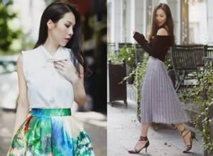 đẹp , thời trang , chân váy midi, trang phục mùa thu