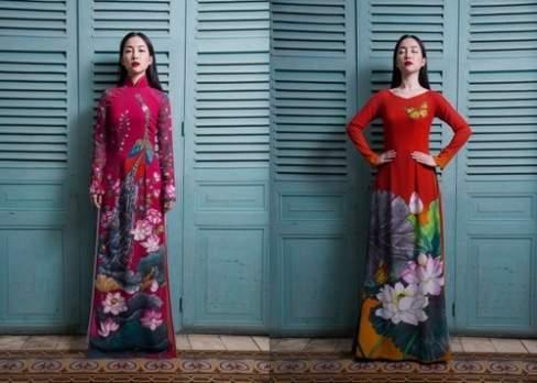 Rực rỡ trong áo dài in hoa của nhà thiết kế Sỹ Hoàng.