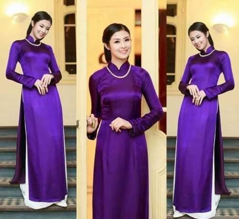 Ngọc Hân dịu dàng trong tà áo dài tím Huế.