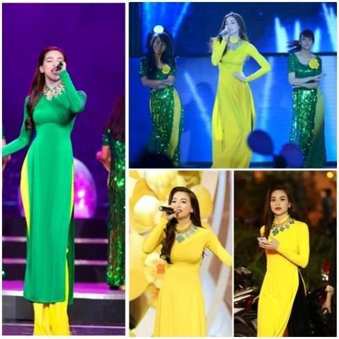 Hà Hồ diện áo dài rực rỡ, nổi bật trên sân khấu.