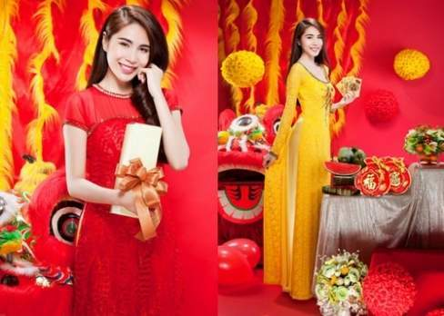 Thủy Tiên nổi bật với áo dài gam đỏ và vàng, màu sắc đặc trưng của ngày tết.
