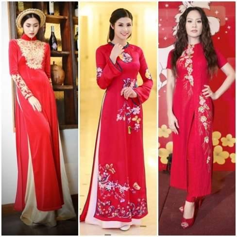 Áo dài màu hồng đỏ được nhiều mỹ nhân Việt lựa chọn.