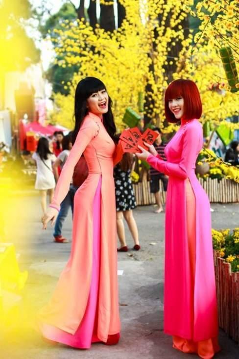 Thiều Bảo Trâm và Bảo Trang tươi trẻ, rực rỡ xuống phố với áo dài hồng.