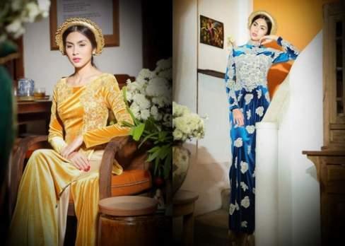 Ngọc nữ Tăng Thanh Hà dịu dàng e ấp trong tà áo dài nhung đủ sắc màu.