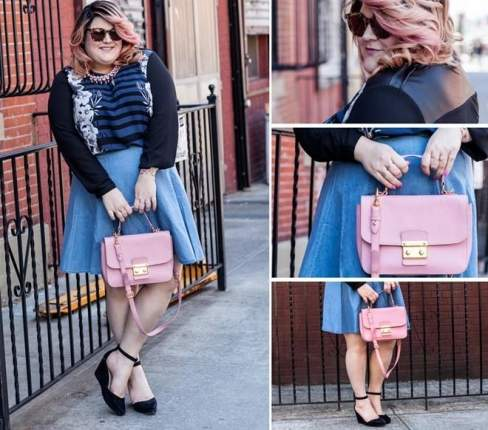 Gu thời trang ngọt ngào của cô với điểm nhấn là chiếc túi hồng nữ tính.