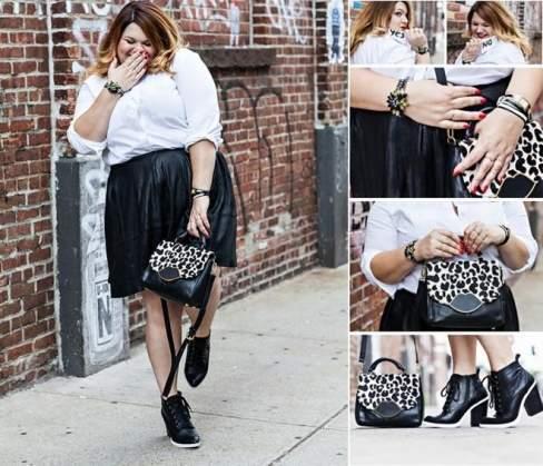 Chỉ cần bộ giày và túi độc đáo đã giúp cô tạo nên sự khác biệt cho bộ đôi sơ mi - váy xòe.