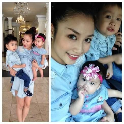 Ba mẹ con nhà Ốc Thanh Vân cá tính với trang phục trên chất liệu denim