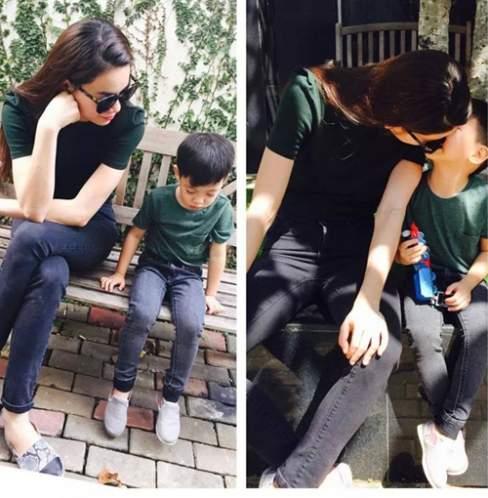 Quần jeans skinny, áo thun là hai mẫu trang phục luôn được Hồ Ngọc Hà lựa chọn cho cậu con trai cưng của mình.