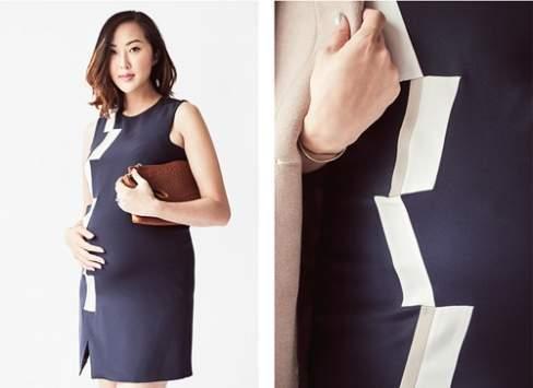"""""""Chiếc váy suông này đặc biệt tôn dáng nhờ phần xẻ nhỏ nhắn dưới chân váy và phần vải hình học chắp vá một bên thân."""