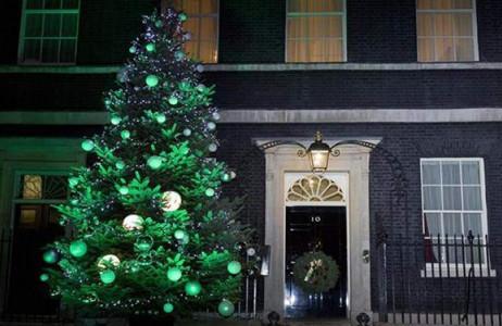 Cây thông Noel được trang trí lộng lẫy bên ngoài dinh thự của Thủ tướng Anh ở số 10 đường Downing, thủ đô London của Anh.