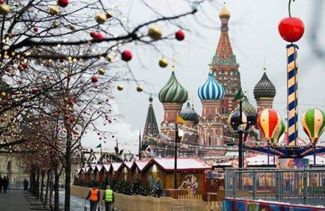 Không khí Giáng sinh đã về ngập tràn ở Quảng trường Đỏ của thủ đô Moscow của Nga