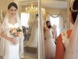 Mẹ yêu cầu, hai con gái nhỏ, mặc váy cưới, cửa sổ tình yêu.