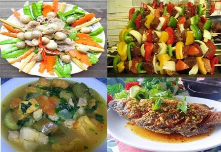 Bữa trưa đưa cơm với cá chiên mắm, thịt nướng rau củ